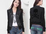 8032#春韩版女装 修身短款夹克 女 PU皮衣V领针织拼接 短
