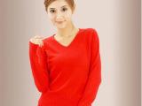 2014秋季新款韩国V领打底毛衣女装套头修身红色毛衣针织百搭