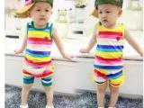 佳来尔  童装批发  韩版宝宝儿童小童男女童装彩条背心短裤套装