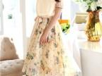2014夏装新款小清新碎花女雪纺短袖长裙连衣裙收腰雪纺碎花连衣裙