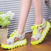 2014春夏季新款女凉鞋拼色镂空平底坡跟鱼嘴松糕底百搭女凉鞋