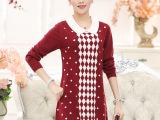 中年女装秋装长袖连衣裙大码妈妈装长款翻领打底衫40-50中老年