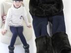冬款七彩棉儿童加厚加绒单层无缝一体九分裤保暖女童打底裤批发