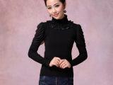 2013秋装新品 重工款 蕾丝高领烫钻长袖打底衫针织衫毛衣批发