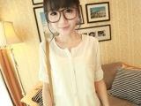 2014夏装新款韩版女开叉圆领单排扣挽袖雪纺衬衫