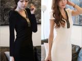 韩国代购OL修身显瘦性感打底裙韩版大码牛奶丝V领长袖连衣裙女装