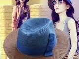 韩版拼色拉菲草帽子 呛口小辣椒女士夏天沙滩礼帽遮阳帽