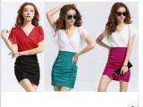 韩版新款女装修身显瘦气质包臀交叉v领蕾丝连衣裙