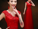 敬酒服新娘时尚2015新款红色韩版长款修身结婚婚纱礼服女晚礼服
