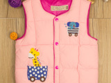 2014新款女童男童卡通印花长颈鹿羽绒棉背心马甲童装厂家直销