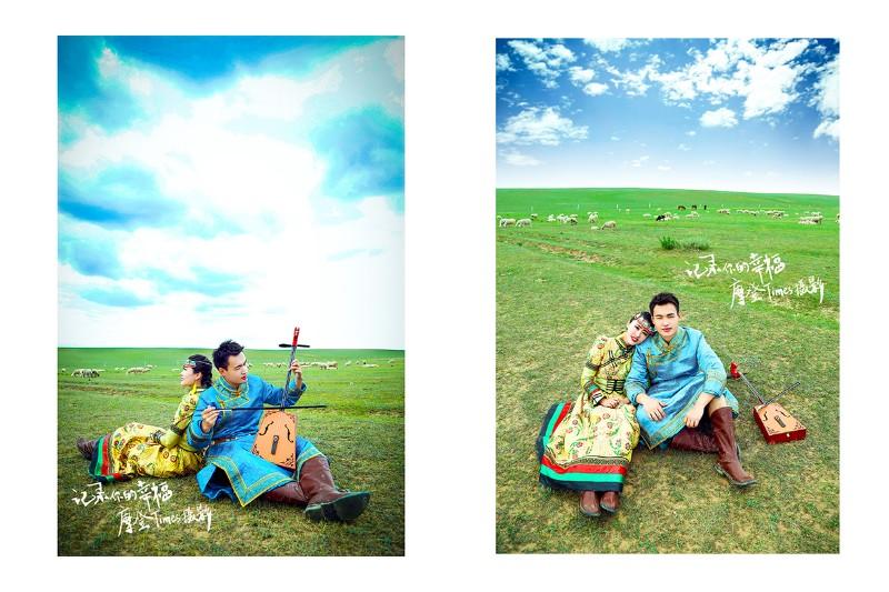 摩登视觉蒙古族婚纱摄影 草原外景蒙古袍拍摄