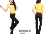 春秋新款韩版糖果色牛仔裤 批发女式彩色微喇叭弹力女装长裤子潮