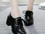 秋冬新款真皮英伦风中低跟女鞋 铆钉粗跟防水台浅口单鞋厂家批发