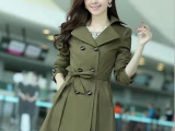 2014秋新款韩版 时尚修身双排扣长袖女蕾丝风衣外套