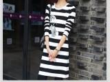 春装新款连衣裙韩版长袖中长款条纹包臀裙子