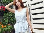 2014韩国l夏装新款 时尚不规则下摆收腰绑带衬衣