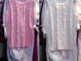 2015春装新款韩版钉珠修身针织背心蕾丝两件套针织衫女打底衫冬