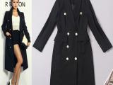 2014秋季新款女装 品牌同款韩版风衣 主流色双排扣修身时尚风衣