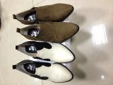 外贸原单小尖头低跟真皮拼色休闲深口单鞋