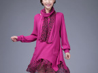 2014秋冬韩版宽松气质大码女装假两件针织豹纹连衣裙送围巾