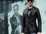 新款精品男式皮衣外套中长款黑色修身欧美男士外套真皮皮衣出口