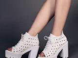 洞洞鞋欧洲站凉靴微信代发 2014新款高粗跟厚底松糕底鱼嘴凉鞋