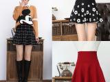 秋冬韩版女装 新款纯色高腰半身裙 波点.格子短裙打底裙厂家批发