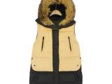 外贸原单女装 冬季新款超大真羊毛领羽绒服 拼色连帽棉衣马甲背心