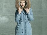 2014冬装新款女 时尚精品超大貉子毛领长款羽绒服 加厚系带YR