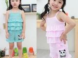 外贸韩版童装 2014年韩版卡通纯棉女孩吊带套装 童套装