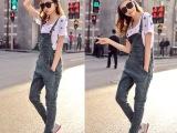 夏装新款时尚铅笔背带裤女 休闲修身显瘦小脚吊带女式牛仔裤