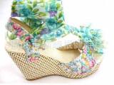 2014夏季新款坡跟鱼嘴凉鞋大花粗跟厚底防水台波西米亚铆钉女鞋