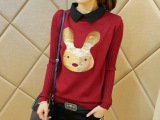 2013韩国新款泡泡泡袖打底衫 翻领亮片卡通小白兔女士针织衫E3