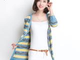 秋装新款2014 V领条纹长袖针织开衫女 中长款撞色女式针织衫