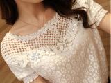 14新款夏装韩版女钉珠镶钻短款雪纺衫上衣小衫镂空短袖女蕾丝衫