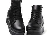 2014秋冬新款真皮女士单靴 新潮铆钉松糕平底时尚个性短款女靴子