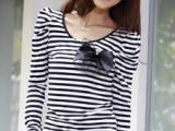 Ematchi春秋季女装韩版修身女装t恤 长袖圆领T恤 条纹拼接