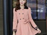 韩版秋装新款可爱修身 长袖优雅休闲女式 风衣外套(8294)