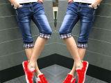 夏季新款男士牛仔短裤薄款青年5分五分男式纯棉直筒宽松型马裤潮