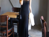 厂家直销2014夏款纱网拼接长裙 韩版修身莫代尔沙滩裙背心连衣裙