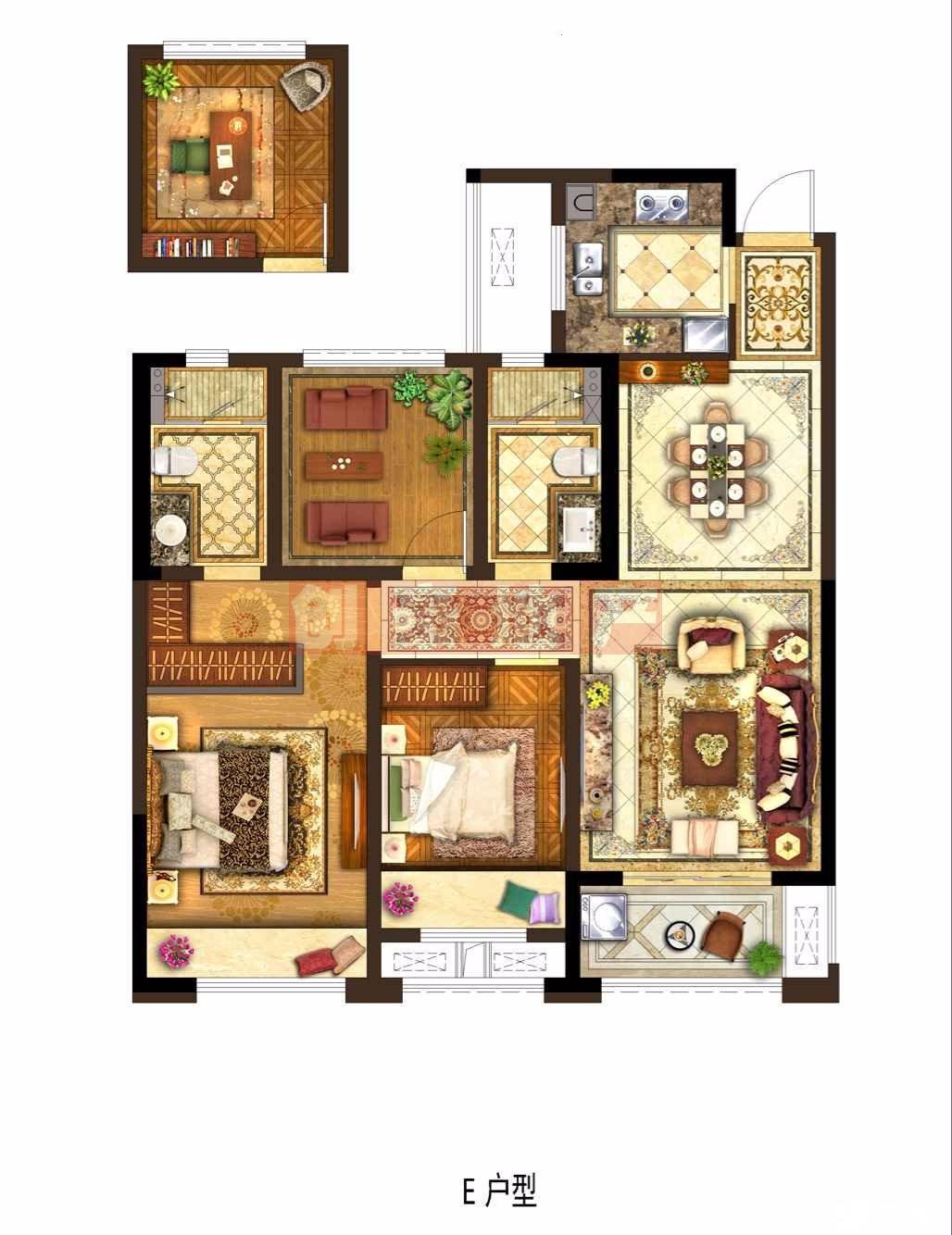 钟楼清枫公园保利公园九里 3室2厅2卫 100.53平米