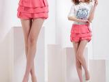 2015韩版新款糖果色修身显瘦雪纺热裤 高腰百褶裙裤女