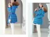 2013新款女装冬装韩版超大貉子真毛领加厚中长款羽绒服厂家直销