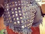 欧美新款热裤破洞磨白翻遍金属装饰牛仔裤敦煌原单快时尚批发