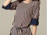 夏装新款韩版修身中长款 短袖条纹雪纺衫 打底衫-送腰带Q524