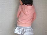 2015春款童装韩版儿童运动套装批发女童连帽卫衣条纹裙两件套外贸