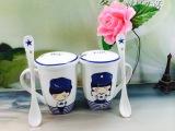 厂家直销韩式陶瓷杯情侣杯子 海军风情侣对杯 创意马克杯带盖带勺