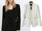 2014秋装新款女装欧美风金色拉链装饰女士休闲外套西装 女式批发