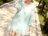 孕妇装批发春夏新款韩版泡泡袖孕妇裙雪纺大码连衣裙一件代发