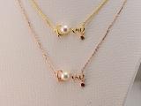 批发订制珠宝2015年新款18K金日本淡水珍珠钻石项链锁骨链红碧